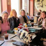 Dogs Bay Team and friends (and Angel's purse) at lunch 2013